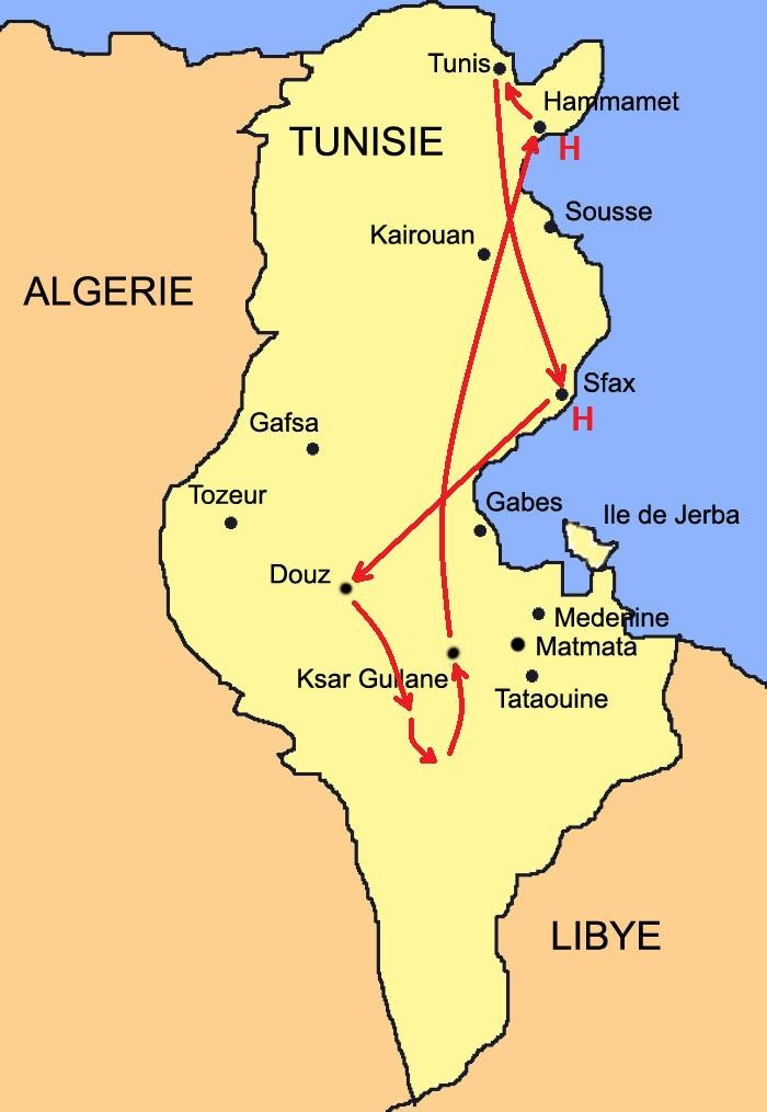 Carte Cap Tunisie